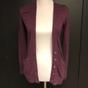 Gap aubergine wool blend cardigan XS